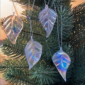 Set of 4 Iridescent Glass Leaves 🍁